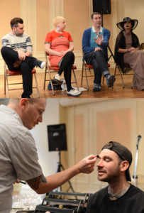(Top) Freddy Shelley, Sara Sherr, Ricky Paul, and Messapotamia Lefae speaking at Drag 101 workshop during the Philadelphia Queer Media Activism Series. (Bottom) Lance Pawling applies make-up to Drag 101 participant. March 22, 2014. Photo credit: John Donges